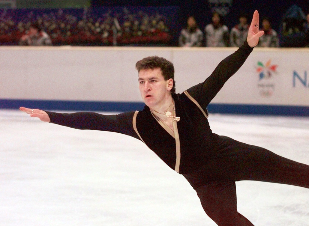 an athlete figure skating