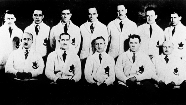 Canada's Olympic hockey team, the Toronto Granites, poses at the Chamonix 1924 Olympic Winter Games. (CP Photo/COC)