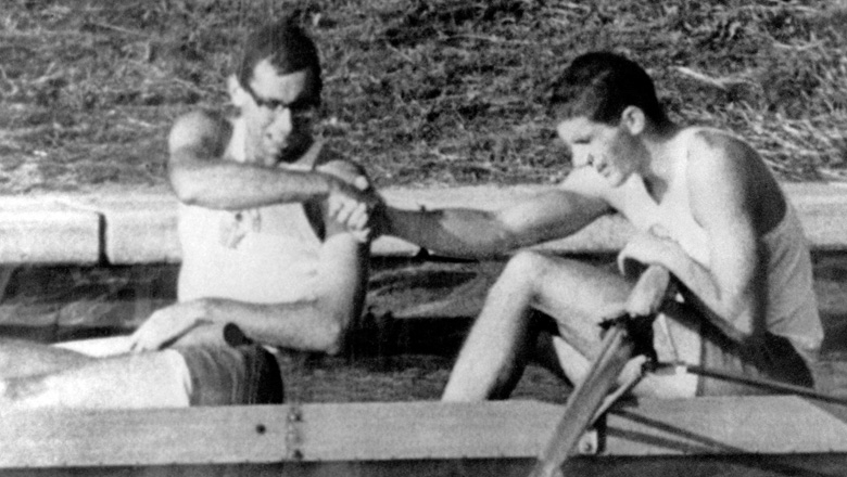 Canada's Roger Jackson (right) and George Hungerford celebrate their gold medal win in the rowing event at the 1964 Tokyo Olympics. (CP Photo/COC)