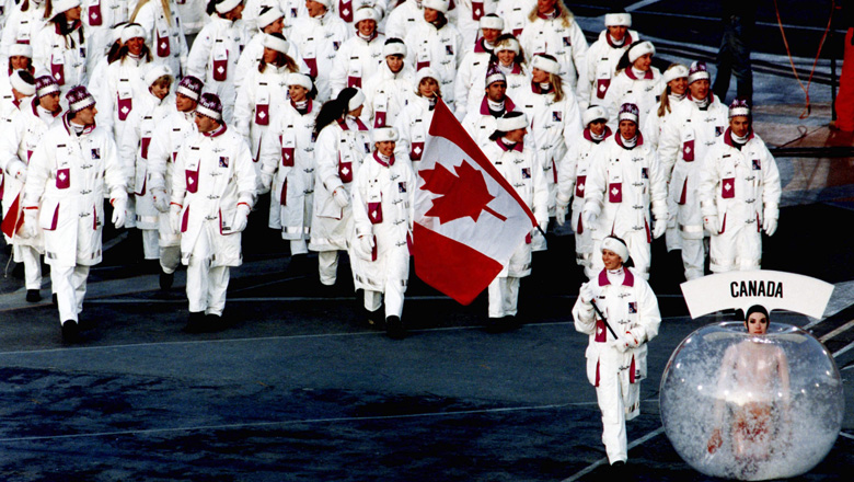 team Canada during a ceremony