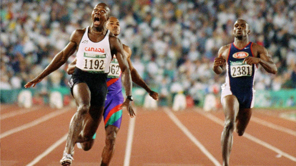 Donovan Bailey breaking the 100-metre world record at Atlanta 1996.