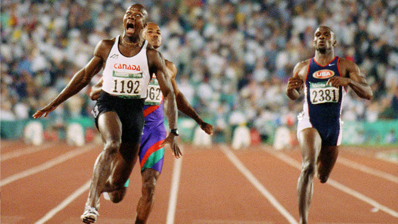 Donovan Bailey breaking the 100-metre world record at Atlanta 1996.