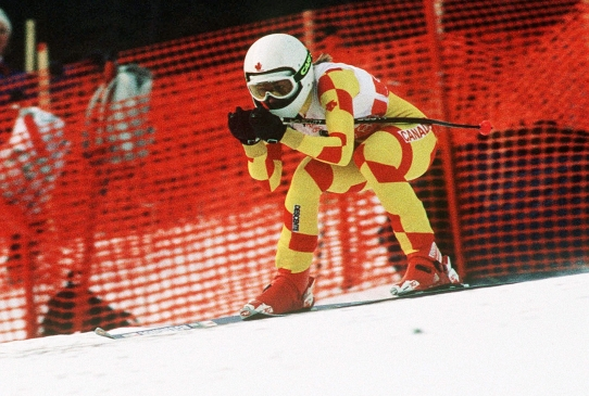 Karen Percy competes in alpine skiing at Calgary 1988.