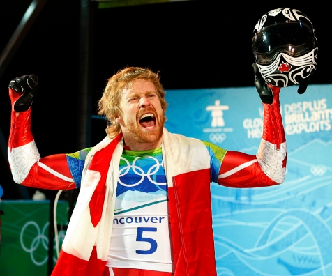 Canada's Jon Montgomery celebrates winning a gold medal in the men's skeleton competition at the Whistler Sliding Centre at the 2010 Vancouver Olympic Winter Games in Whistler, B.C., Friday, Feb. 19, 2010. THE CANADIAN PRESS/Jeff McIntosh