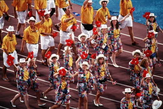 Canada's athletes celebrate during the opening ceremony at the 1992 Olympic games in Barcelona. (CP PHOTO/ COC/ Claus Andersen)