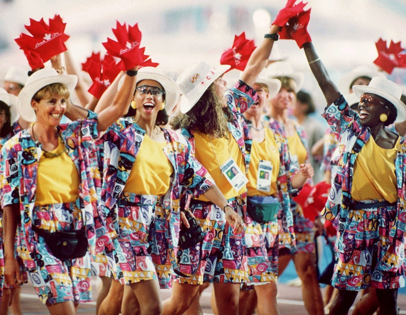 Canada's Olympic athletes participating in the opening ceremonies at the 1992 Olympic Games in Barcelona. (CP PHOTO/COC/Claus Andersen )