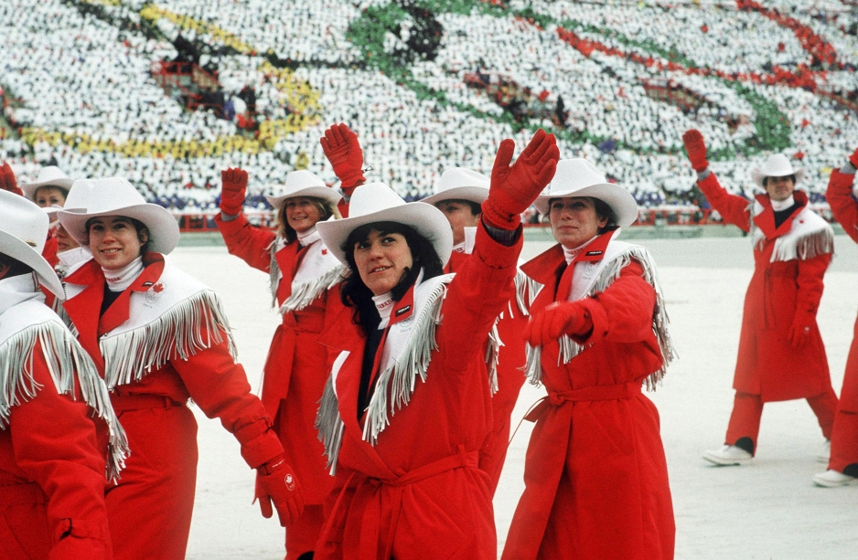 Canada's Olympic athletes participate in the opening ceremony at the 1988 Olympic Winter Games in Calgary. (CP PHOTO/COC)