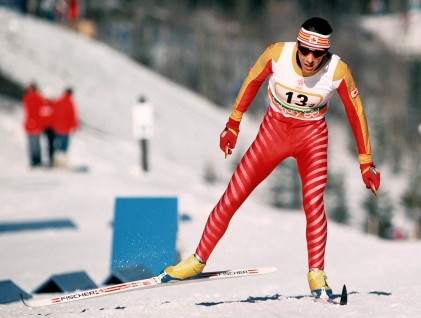 Harvey racing in cross country skiing