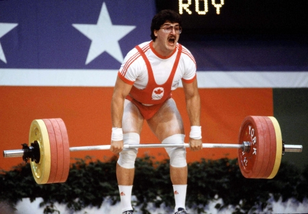 Kevin Roy giving his everything at Los Angeles 1984