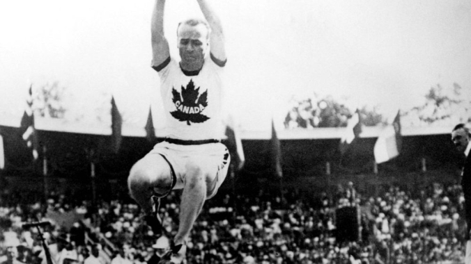 Canada's Calvin Bricker leaps towards a silver medal performance in the long jump event at the Stockholm 1912 Stockholm Olympic Games. (CP Photo/COC)