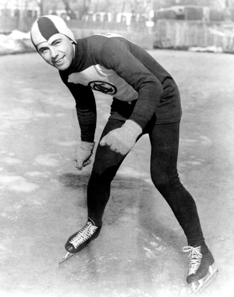 Black and white image of Frank Stack posing during the 1932 Lake Placid Olympics.