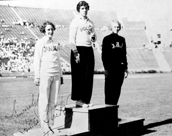 Canada's Hilda Strike (left) celebrates her silver medal win in the women's 100m race at the 1932 Los Angeles Olympics. (CP Photo/COC)