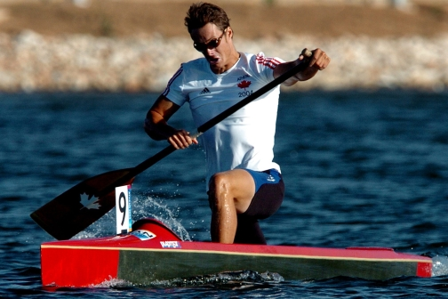 Canada's Richard Dalton paddles his way to sixth place during the C-1 500m final of the Athens 2004 Olympic Games Saturday, August 28, 2004. (CP PHOTO/COC-Andre Forget)