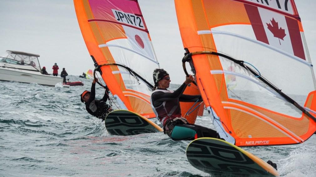 Nikola Girke on her windsurfer