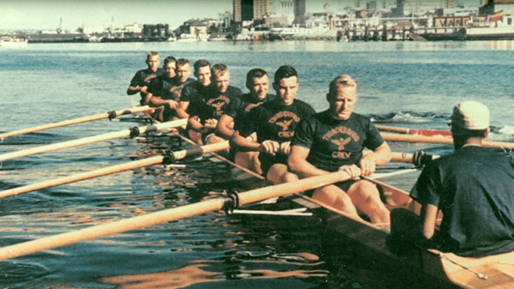 William McKerlich, sixth from the left, with the 1960 Olympic silver medal winning eights team