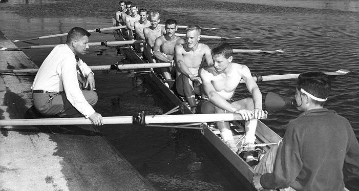 Wayne Pretty,fourth from left, with the 1956 Olympic silver medal winning eights team