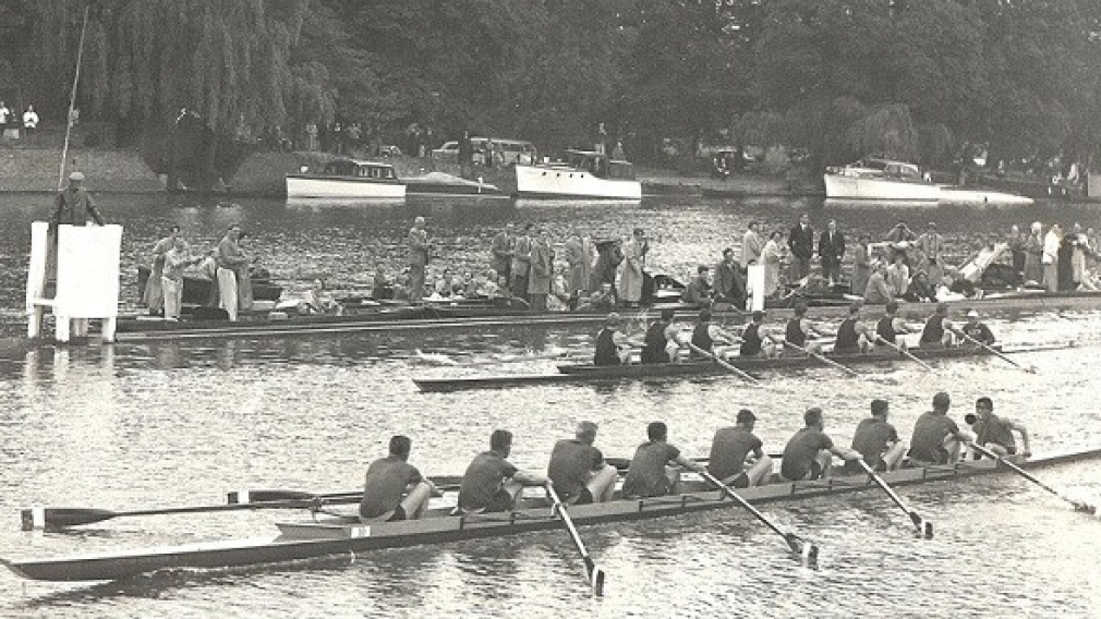 Richard McClure with the 1956 Olympic silver medal winning eights team