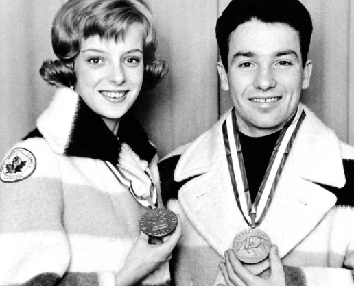 Canada's Debbi Wilkes and Guy Revell celebrate their podium finish in the pairs figure skating event at the Innsbruck 1964 Olympic Winter Games. (CP Photo/COC)