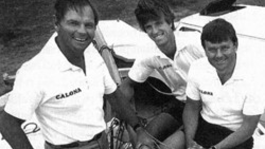 Hans Fogh, right, with teammates Steve Calder and John Kerr at a pre-Olympic event in Los Angeles, 1983