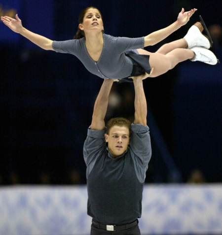 Canadian Jamie Sale soars above David Pelletier during their Pairs Free Skate in Salt Lake City, Utah Monday Feb. 11, at the 2002 Olympic Winter Games. (CP Photo/COC/Andre Forget).