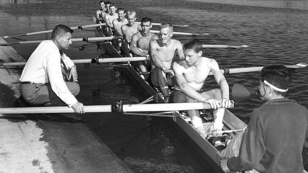 Lawrence West, second from right, with the 1954 Olympic gold medal winning eights team