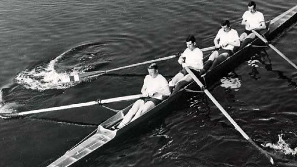 Lorne Loomer, second from left, with the 1956 Olympic gold medal coxless fours team