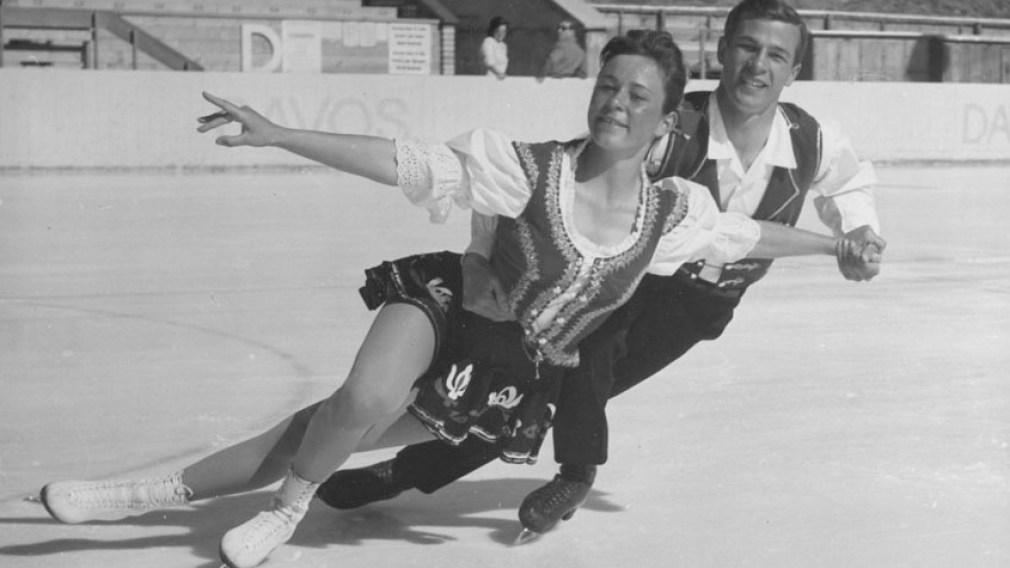 Maria Jelinek skating with Otto Jelinek