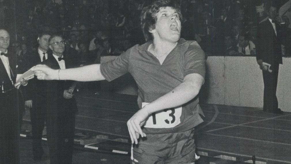 Nancy McCredie competing in shotput