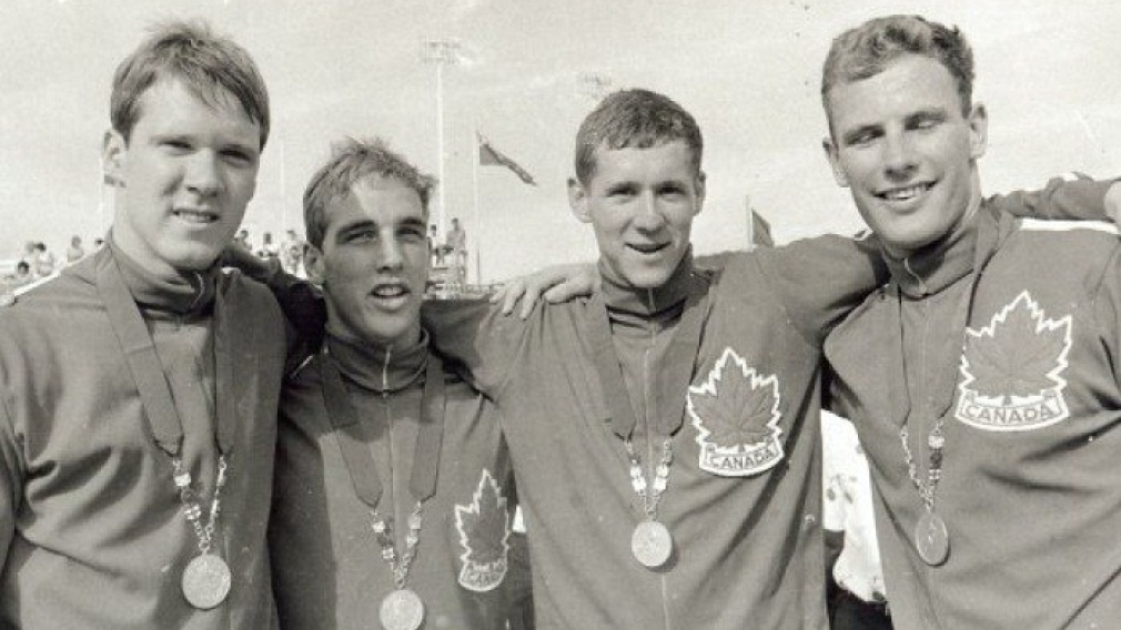 Ralph Hutton, left, with Canadian teammates
