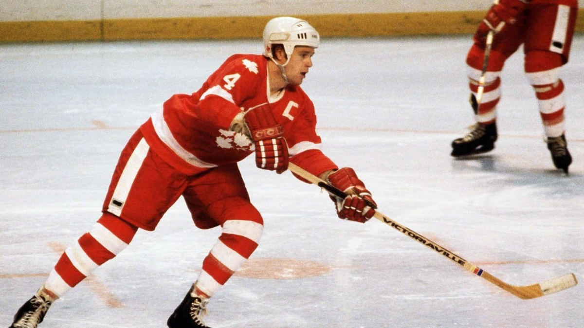 Randy Gregg playing defense in ice hockey