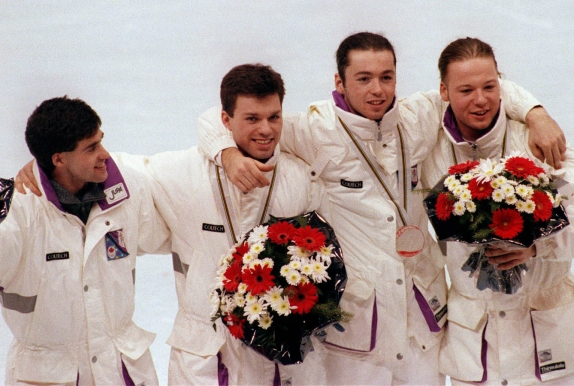 Canada's short track speed skating relay team silver medal winners from left; COCch Guy Daignault, Michel Daignault, Frederic Blackburn, Sylvain Gagnon, and Mark Lackie at the Albertville 1992 Olympic Winter Games. (CP PHOTO/COC/Ted Grant)