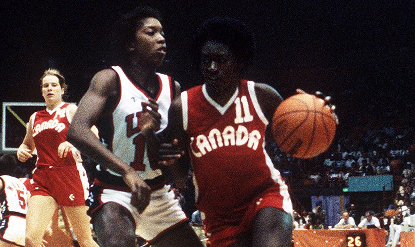 Sylvia Sweeney, right, playing for Canada at Los Angeles 1984