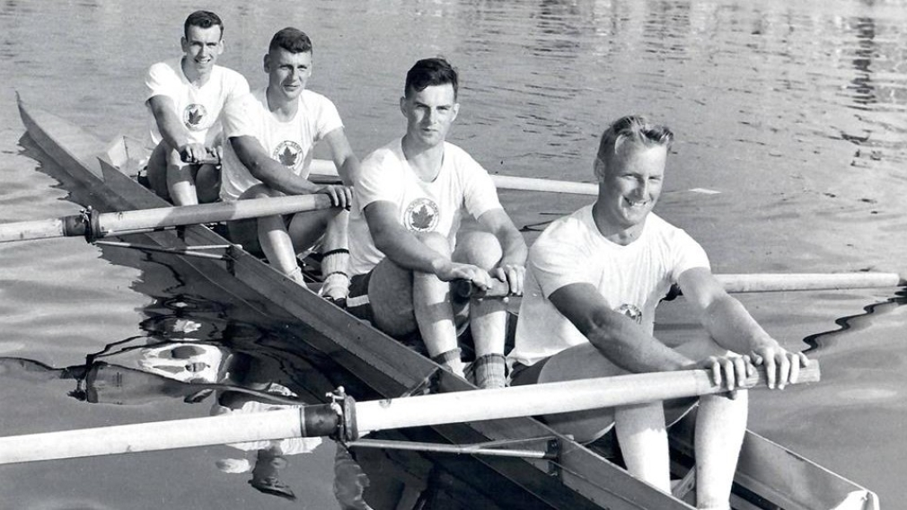 Archie Mackinnon, right, with the 1956 Olympic gold medal winning coxless fours team