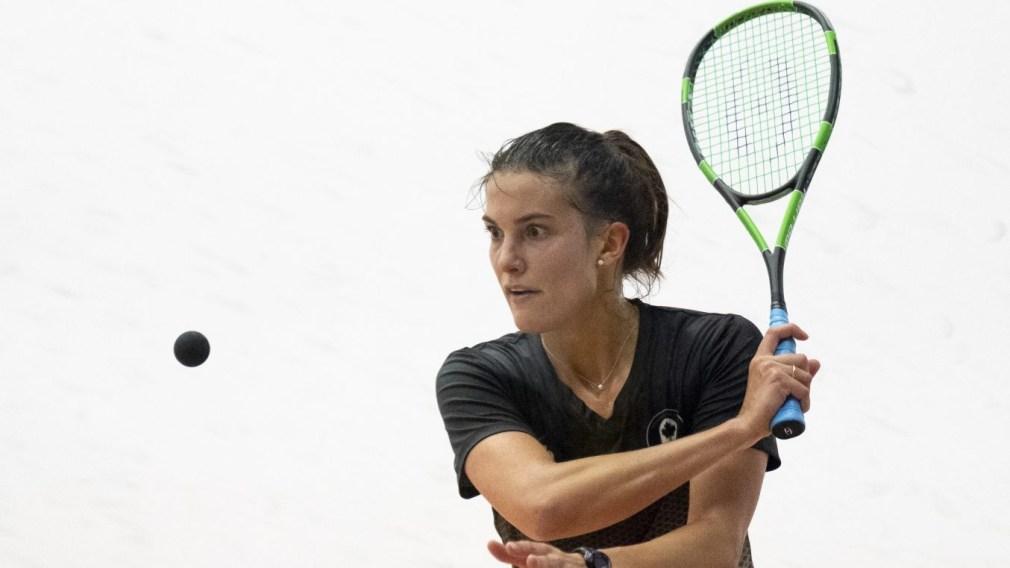 Samantha Cornett of Canada returns the ball