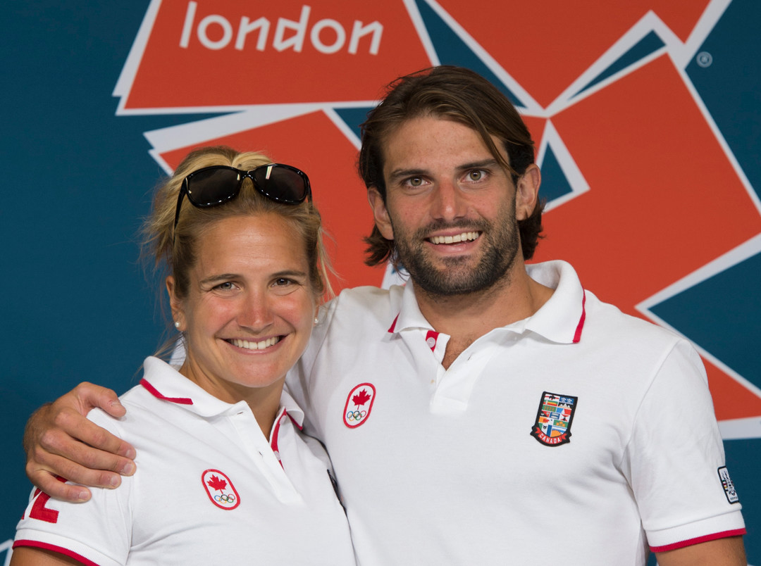 Siblings Emilie and Hugues Fournel pause for a photo at the 2012 London Olympics. (Jason Ransom)
