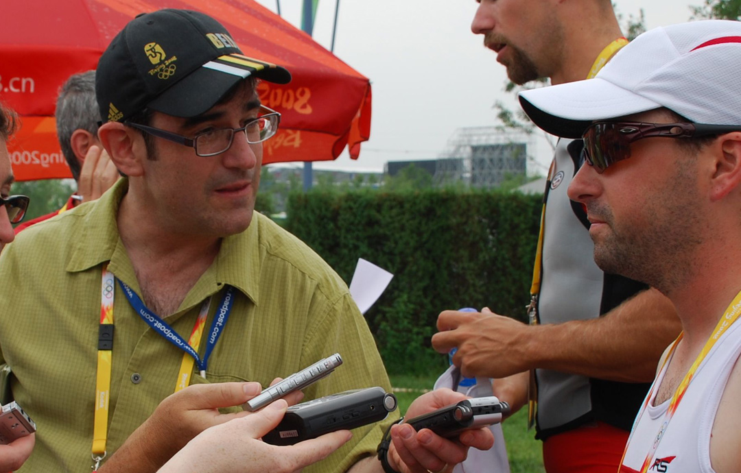 Randy Starkman in an Olympic mixed zone