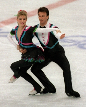 Canada's Tracy Wilson and Robert McCall participate in the figure skating - ice dance event at the 1988 Winter Olympics in Calgary. (CP PHOTO/COC/ C. McNeil)