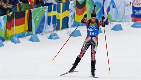 Canada's Megan Tandy heads to the finish line in the women's 4x6 kilometre relay biathlon event at Whistler Olympic Park on Tuesday, February 23, 2010 at the 2010 Vancouver Olympic Winter Games in Whistler, B.C.. THE CANADIAN PRESS/Andrew Vaughan