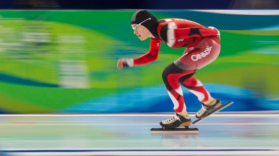 Canadian speed skater Clara Hughes races to bronze in the women's 5000m event at the XXI Olympic Winter Games in Richmond, B.C., Wednesday Feb. 24, 2010. THE CANADIAN PRESS/Adrian Wyld