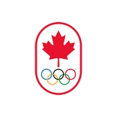 The Canadian Olympic Committee logo. A red maple leaf with the Olympic rings below it, surrounded by a red oval.