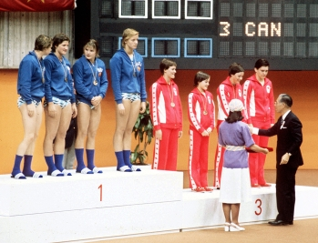 Canada's women relay team (right) celebrates their bronze medal win in the swimming event at the 1976 Olympic games in Montreal. (CP PHOTO/ COC/MB)