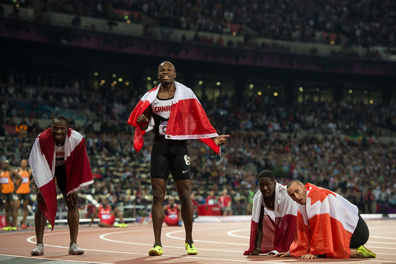 Canadian sprinters at London 2012 before it was learned that they had been disqualified from the 4x100m.