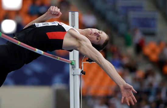 Canada's Derek Drouin competes in the men's high jump final at the World Athletics Championships 2013