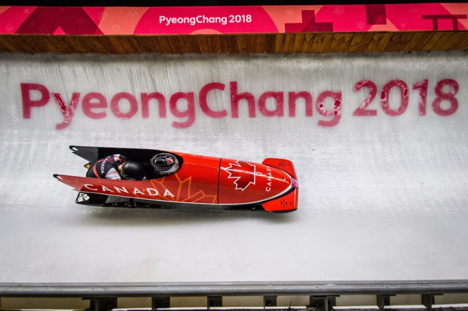 Alysia Rissling and Heather Moyse compete in the Bobsleigh