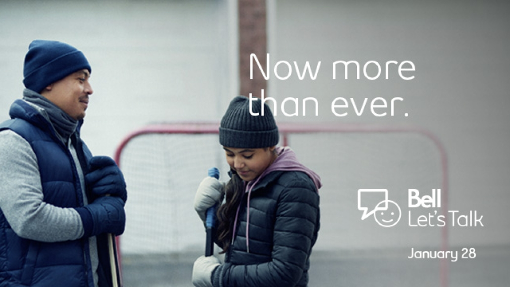 Bell Let's Talk Day ad showing a dad and daughter in front of hockey net