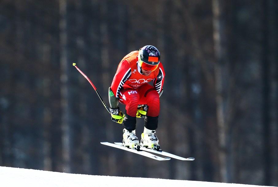 Benjamin Thomsen takes part in the Alpine Skiing Men's Downhill
