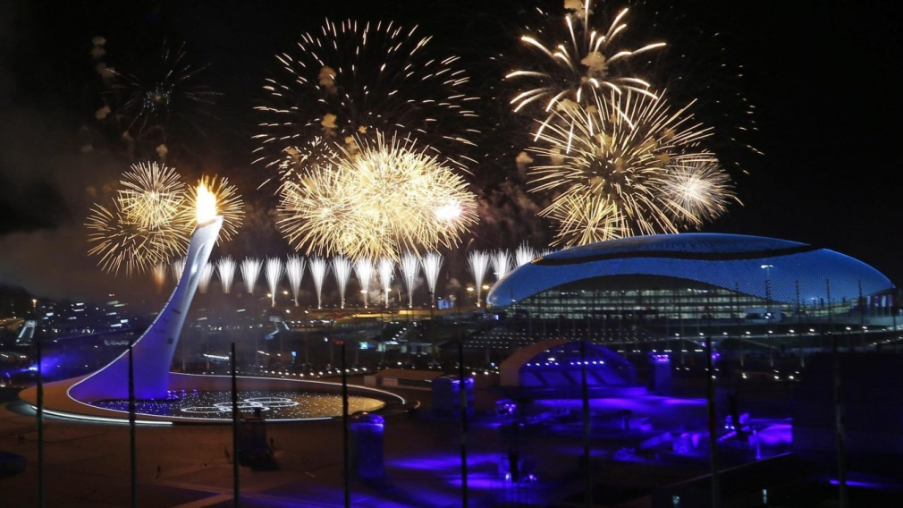 Team Canada - Fireworks over Olympic Park during the Sochi 2014 Opening Ceremony