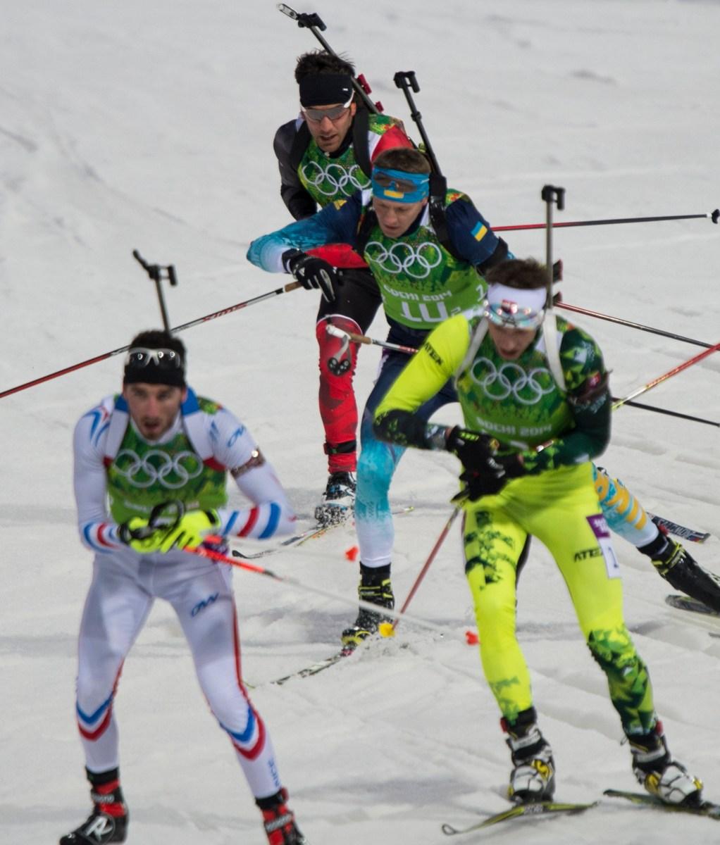 Athletes skiing