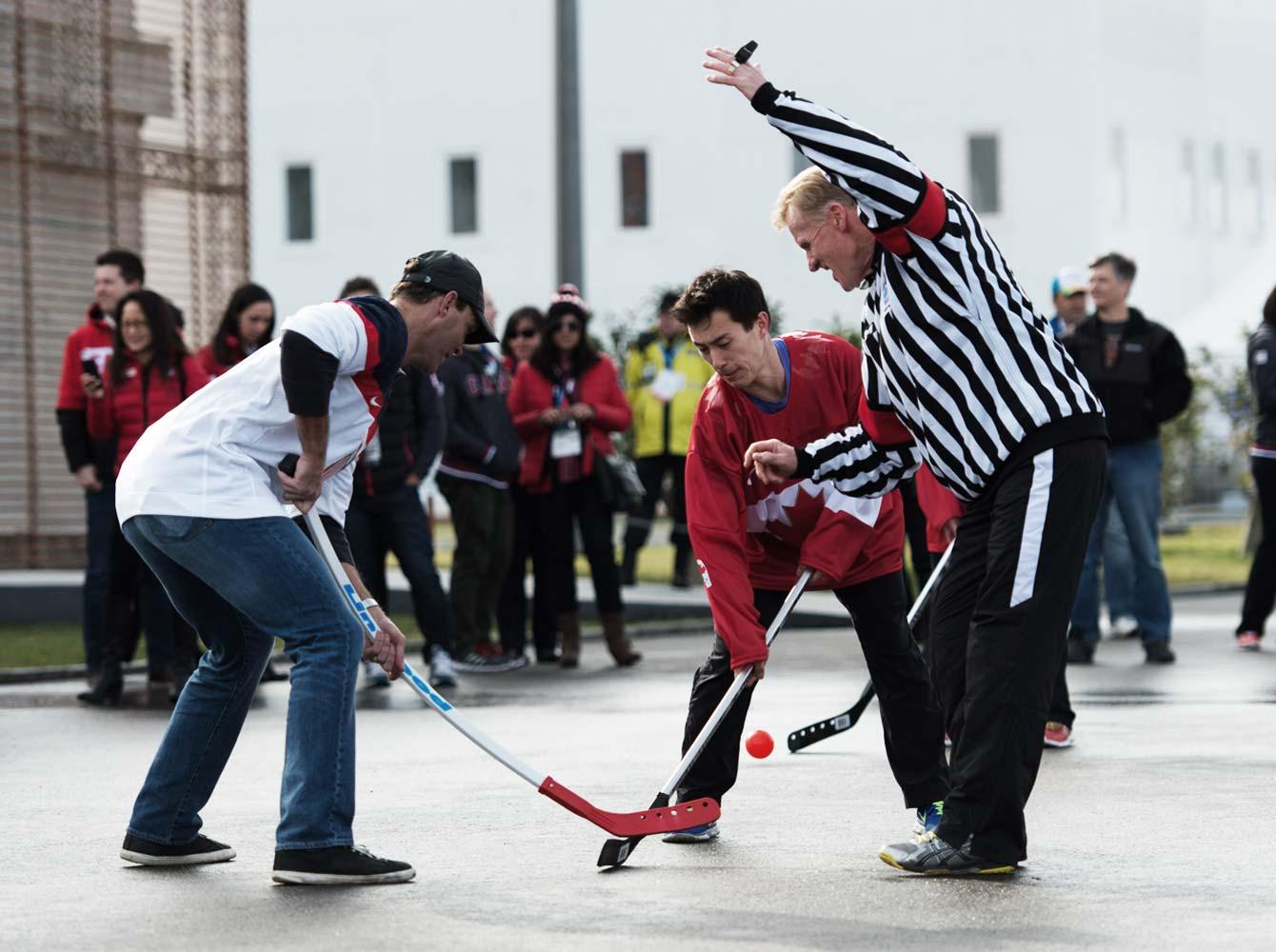 Sochi Ball Hockey Faceoff