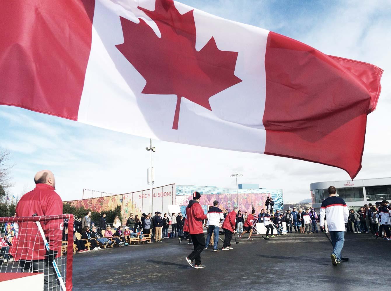 Sochi ball hockey canada flag